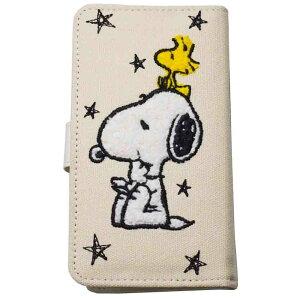 スマホケース 手帳型 かわいい スヌーピー グッズ 全機種対応 ミラー付き 可愛い キャラクター 雑貨 メール便可 ホワイト