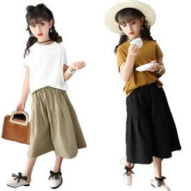 ff5bd3b066d81 子供服 ガウチョパンツ 女の子 ドルマンスリーブ 半袖 tシャツ 韓国子供服 大人っぽい