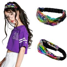 子供髪飾り 女の子 カチューシャ ヘアバンド ヒップホップ ヘッドバンド ヘアゴム プレゼント 贈り物 キッズ ヘアアクセサリー ダンス用 スパンコール