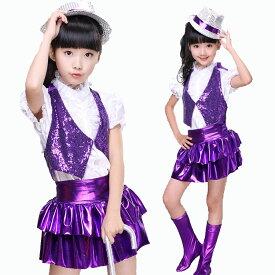 4a78df7fdefd0 ダンス衣装 ガールズ キッズ ダンス セットアップ ジャズダンス 衣装 ベスト スパンコール チア スカート 半袖 衣装 チアガール