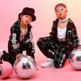 キッズダンス衣装 セットアップ ヒップホップ ダンス衣装 チェック柄 ダンスパンツ ジュニア 上下 ダンス 衣装 半袖 シャツ hiphop パンツセット ダンスウェア 子ども服