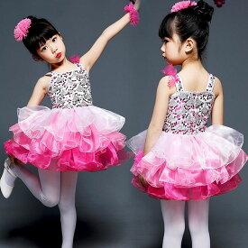 08d40c8c4f447 キッズダンス衣装 ワンピース キッズ 可愛い ダンス 衣装 ガールズ スパンコール ダンス衣装 チア チアガール 衣装 キッズ