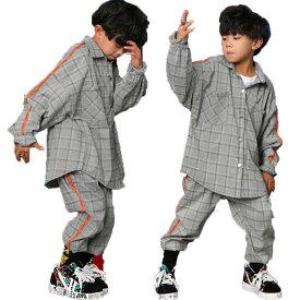 キッズダンス衣装 セットアップ ダンス 衣装 ヒップホップ キッズ ダンス トップス パンツ ダンス衣装 チェック柄 子供 ダンスウェア