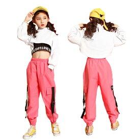 ダンス 衣装 ガールズ ダンス衣装 トップス へそ出し 長袖 ショート丈 パーカー 無地 ヒップホップ 韓国 かっこいい ダンス ロングパンツ