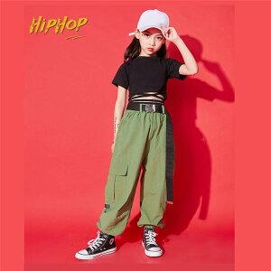 キッズダンス衣装 ヒップホップ HIPHOP タンクトップス へそ出し 長ズボン ダンスパンツ 子供 女の子 チアガール ガールズ キッズ ダンス衣装 ジャズダンス 練習着 発表会