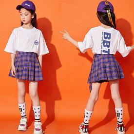 ダンス衣装 キッズ ヒップホップ 子供服 セットアップ ダンストップス 女の子 Tシャツ スカート チェック柄 チアダンス チェックスカート チアガール hiphop ステージ衣装 発表会 ステージ衣装 激安