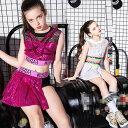 ダンス 衣装 ガールズ キッズ ダンス衣装 セットアップ チアガール キュロット スカート風 へそ出し トップス キッズ …