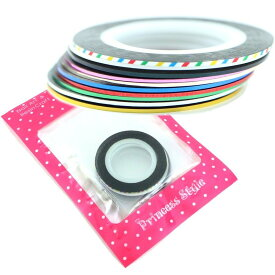 ラインテープ ネイルテープ ゴールド シルバー グリーン レッド ブルー シャンパンゴールド ピンク ブラック ホワイト マルチカラー 1mm幅×20m 10色セット