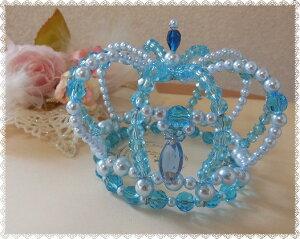 宝石のように輝くジュエル王冠(アクアマリン)コスプレ,ゴスロリ,ハロウィン,手作りビーズ,ブライダルアクセ,二次会,結婚,ティアラ,花冠