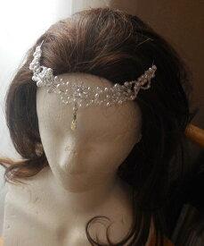 144beab277d32 マリアベール・カーブが綺麗なお花デザインの額飾り☆ブライダルブーケ