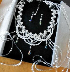 パールプリンセスショルダーネックレスセット(ブリオレットカット)真珠,スワロフスキー,手作りビーズ,結婚,ティアラ,パーティ,コスプレ衣装,ウェディングベール