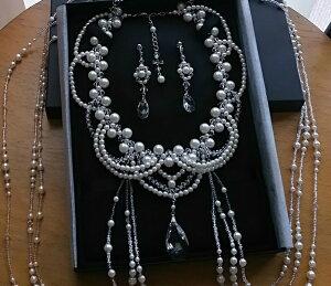 パールプリンセスショルダーネックレスセット(ペアシェイプ)真珠,ブライダルアクセ,手作りビーズ,結婚,ティアラ,パーティ,コスプレ衣装,ウェディングドレス,肩