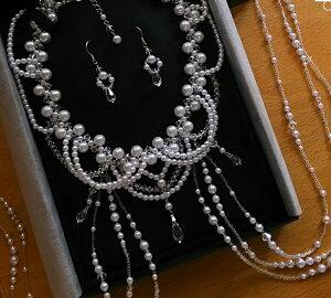 パールプリンセスショルダーネックレスセット(しずく形)真珠,スワロフスキー,手作りビーズ,結婚,ティアラ,パーティ,コスプレ衣装,ウェディングベール