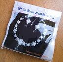 ロマンティック★ローズ&ハートネックレス手作りキット(ホワイト)スワロフスキー#6228花嫁・白薔薇・ウェディング・…