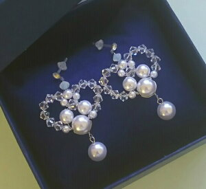 真珠でミッキー!ハートピアス&イヤリング・ディズニーウエディング・ブライダルアクセ・キャッチ式・フック式・樹脂・チタンポスト,手作りビーズ・耳飾り
