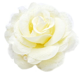 パールが上品♪チュール&オーガンシーのローズコサージュ(ホワイト)フォーマル・ヘアアクセサリー・ブローチ・髪飾り・結婚式・入学式・卒業式