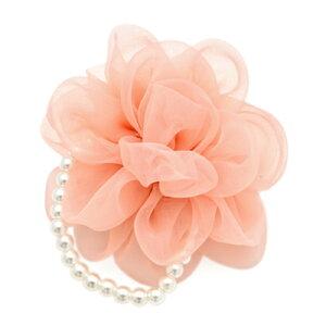 パールが上品♪ふわふわコサージュ(ピンク)フォーマル・ヘアアクセサリー・ブローチ・髪飾り・結婚式・入学式・卒業式