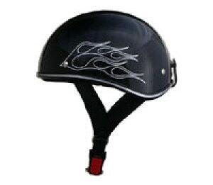 ハーフヘルメット 原付 カブ 【リード工業】 激安ビンテージ・半ヘル D'LOOSE アメリカンハーフヘルメット ブラックフレア D-356-B-FLARE