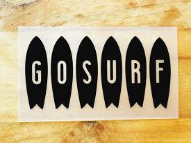 GO SURF 3 黒 白 2枚組 ステッカー 車 かっこいい ブランド おしゃれ ウォールステッカー キャリーバッグ バイク 西海岸 サーフィン カリフォルニア ハワイ surf sup nyc プリンタック 切り文字 【メール便送料無料】