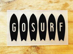 GO SURF 3 黒 白 2枚組 ステッカー 車 かっこいい ブランド おしゃれ ウォールステッカー キャリーバッグ バイク 西海岸 サーフィン カリフォルニア ハワイ surf sup nyc プリンタック 切り文字 【