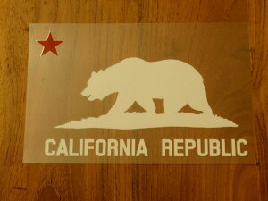 CALIFORNIA REPUBLIC 白 赤星L ステッカー 車 かっこいい ブランド おしゃれ プリンタック 切り文字 ウォールステッカー バイク 西海岸 熊 星 サーフィン カリフォルニア surf sup nyc【メール便送料無