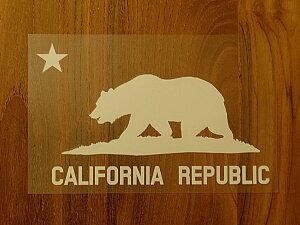 CALIFORNIA REPUBLIC 白 白星L ステッカー 車 かっこいい ブランド おしゃれ プリンタック 切り文字 ウォールステッカー バイク 西海岸 熊 星 サーフィン カリフォルニア シール surf sup nyc【メール