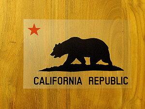 CALIFORNIA REPUBLIC 黒 赤星L ステッカー 車 かっこいい ブランド おしゃれ プリンタック 切り文字 ウォールステッカー バイク 西海岸 熊 星 サーフィン カリフォルニア surf sup nyc【メール便送料無