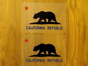 CALIFORNIA REPUBLIC 黒 赤星M 2枚組 ステッカー 車 かっこいい ブランド おしゃれ プリンタック 切り文字 ウォールステッカー バイク 西海岸 熊 星 サーフィン カリフォルニア surf sup nyc【メール便