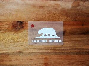 CALIFORNIA REPUBLIC 白 赤星XS 3枚組 ステッカー 車 かっこいい ブランド おしゃれ プリンタック 切り文字 ウォールステッカー バイク 西海岸 熊 星 サーフィン カリフォルニア surf sup nyc【メール便