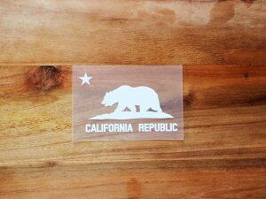 CALIFORNIA REPUBLIC 白 白星S 2枚組 ステッカー 車 かっこいい ブランド おしゃれ プリンタック 切り文字 ウォールステッカー バイク 西海岸 熊 星 サーフィン カリフォルニア surf sup nyc【メール便
