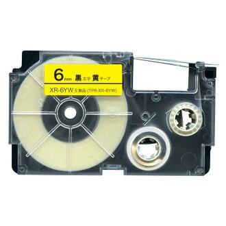 同卡西歐姓名大地可以互相交換的帶子墨盒XR-6YW標簽6mm/黄色帶子/釣樟屬