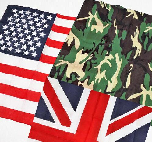 バンダナ 正方形 ハンカチ 迷彩 カモフラージュ アメリカ イギリス 国旗 柄