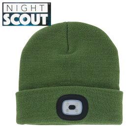 【スーパーセール クーポン】帽子 メンズ レディース ニット帽 LEDライト付 オリーブ ナイトスカウト KNS0001 NIGHT SCOUT LED Beanie ビーニー