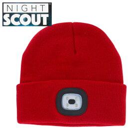 【スーパーセール クーポン】帽子 メンズ レディース ニット帽 LEDライト付 レッド ナイトスカウト KNS0003NIGHT SCOUT LED Beanie ビーニー