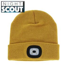 【スーパーセール クーポン】帽子 メンズ レディース ニット帽 LEDライト付 マスタード ナイトスカウト KNS0004 NIGHT SCOUT LED Beanie ビーニー