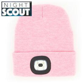 【スーパーセール クーポン】帽子 メンズ レディース ニット帽 LEDライト付 ピンク ナイトスカウト KNS0005NIGHT SCOUT LED Beanie ビーニー