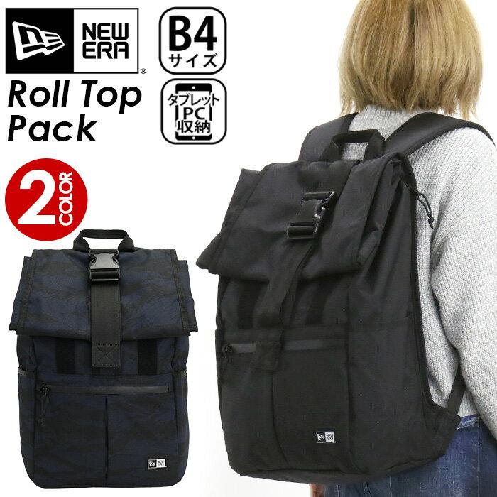 NEW ERA ニューエラ リュック 正規品 リュックサック デイパック バックパック メンズ レディース 男女兼用 ブラック 26L ロールトップパック Roll Top Pack