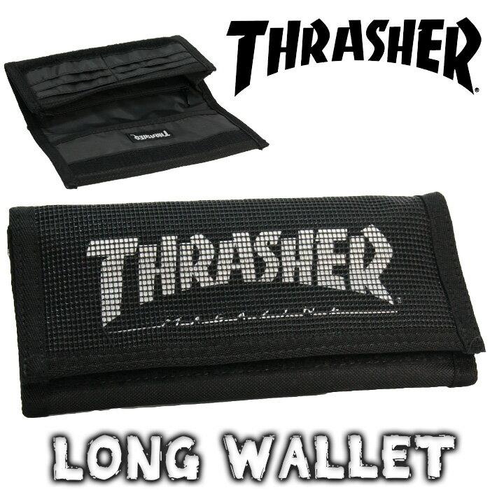 THRASHER スラッシャー 財布 メンズ 長財布 レディース 軽量 ウォレット 小銭入れ有り ロングウォレット サイフ 長サイフ マジックテープ 小銭入れ カード カード入れ 多い 男女兼用 さいふ 黒 おしゃれ 軽い ストラップ THRSG112 thrasher-302