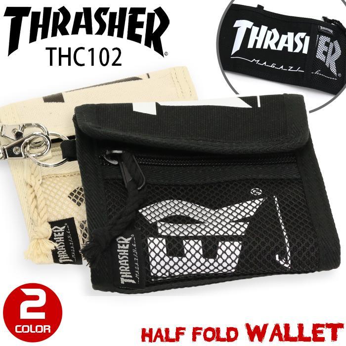 THRASHER スラッシャー 財布 ウォレット 二つ折り 折りたたみ 二つ折り財布 折り財布 メンズ レディース 男女兼用 ブラック THC102