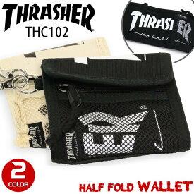 【ラバーバンドプレゼント】 THRASHER スラッシャー 財布 ウォレット 二つ折り 折りたたみ 二つ折り財布 折り財布 メンズ レディース 男女兼用 ブラック THC102