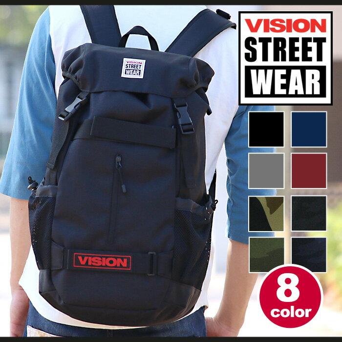【ポイント10倍】 VISION STREET WEAR ビジョン ストリート ウェア リュック 大容量 リュックサック バックパック かぶせ フラップ デイパック 通学用 バッグ かばん 迷彩 カモ おしゃれ かっこいい メンズ レディース 男女兼用 ユニセックス スケボーリュック VSPC502N