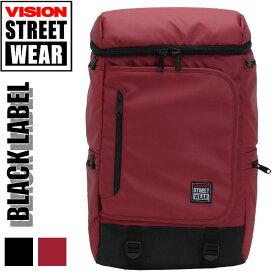 リュック VISION STREET WEAR ビジョン ストリートウエア 人気の ボックス型 スクエア バックパック ブラック レーベル ビジネス リュックサック デイパック メンズ 通勤 通学 おしゃれ タブレット PC 対応 VSBL-506N