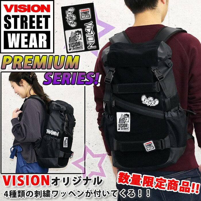 【ポイント10倍】 VISION STREET WEAR ビジョン ストリートウェア リュック リュックサック メンズ レディース 男女兼用 フラップ 数量限定 ワッペン付き ボードストラップ付 ブラック 23L VSVX502