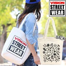 VISION STREET WEAR ビジョン ストリートウェア トートバッグ キャンバストートバッグ レディース メンズ 男女兼用 人気 おしゃれ 手提げ ママバッグ B4 CANVAS TOTTE キャンバス トート エコバッグ VST804 VST805