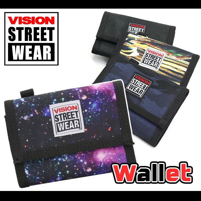 VISION STREET WEAR ビジョン ストリートウェア サイフ 財布 ウォレット 三つ折り 二つ折り メンズ レディース ユニセックス 男女兼用 学生 総柄 おしゃれ かっこいい マジックテープ チェーン ホルダー ストラップ付 VSGN103