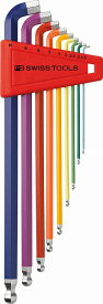 【あす楽】PBスイスツール(PBSWISS PBSWISSTOOLS)ボール付ロングショートヘッドレインボー六角レンチセット【ミリ】パック無し〔2212LH-10RB〕2212LH10RB