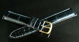 Finest crocodile leather watch straps (white stitch) bamboo marks black 18 mm... 20 Mm (oil mat finishing)