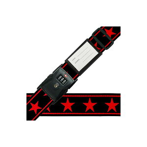 【クーポンあり】スーツケースベルト TSAベルト ビッグスター柄 黒×赤