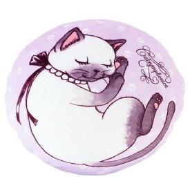 【クーポンあり】CAT SYMPHONICA(キャットシンフォニカ) リバーシブル もちもちクッション (ミント×パープル) 6230 猫のイラストのかわいいクッション!