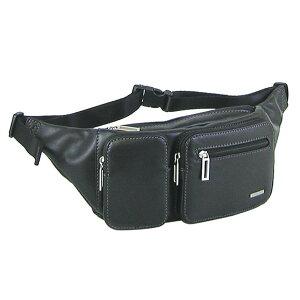 【クーポンあり】SAXON 牛革 2ポケットウエストバッグ ブラック 05041 牛革 ウエストポーチ おしゃれ かばん シンプル ビジネス ポケット 収納 レザー